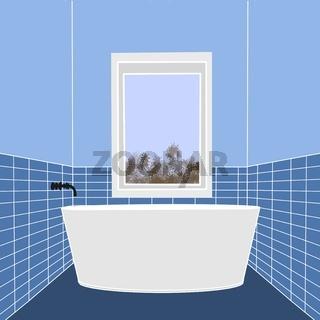 Illustration eines schmalen Badezimmers mit Badewanne