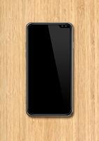 modern blank smartphone mockup on wooden desk. 3D render