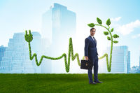 Green energy concept with businessman