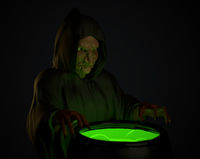 Halloween witch stirring in green poison soup in her cauldron