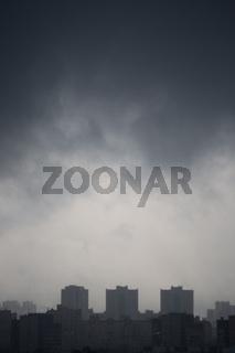 Gloomy dark city view