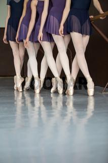 Five ballet dancers in class near the handrail, legs only. Model