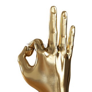 Golden hand with folded fingers in an ok gesture on a white background. Back view. 3d rendering
