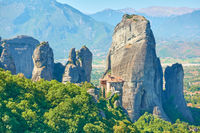 Rocks of Meteora in Greece with Rousanou nunnery