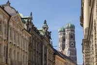 Towers of Frauenkirche with Row of Neoclassical Houses - Munich