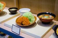 fake, plastic food menu in asian restaurant window