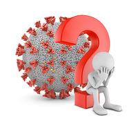 Man under a question mark and coronavirus