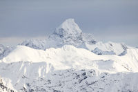 Amazing Winter View to the snow covered Mountain Hochvogel in Allgau Alps, Bavaria, Germany.