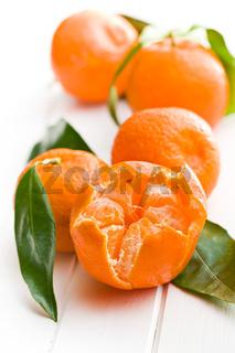 fresh mandarin with green leaves