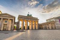 Berlin Germany, city skyline sunset at Brandenburg Gate (Brandenburger Tor) empty nobody