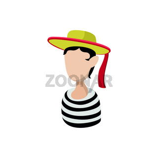 Mime artist icon, cartoon style