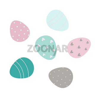 Decorated Easter eggs isolated on white background Vector flat illustration