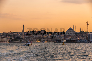 Panoramic view of Istanbul at sunset