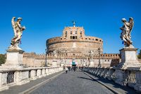Frontal view of the Castel Sant'Angelo in Rome, Italy