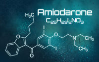 Chemical formula of Amiodarone on a futuristic background