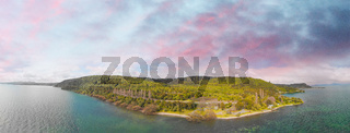New Zealand Lake Taupo landscape, panoramic aerial view