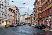 Street with tramway tracks in Central Berlin