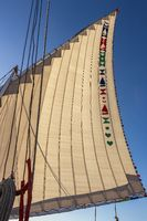 Lateen sail hoisted up in a Felucca sail boat in the Nile River