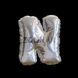 Silver Balloon Letter N, Realistic 3D Rendering
