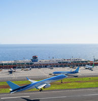 Airplanes taking off airport Madeira