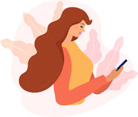 Woman looking at the phone and checking social networks. Virtual communication. Girl reads SMS chat. Online dating concept. Flat modern vector illustration