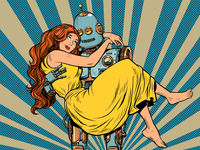love couple robot and woman