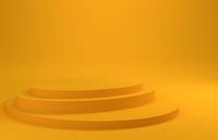 Yellow podium on a yellow background