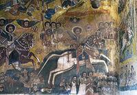 Der Heilige Georg reitet auf einem weissen Ross in die Schlacht gegen die Ägypter