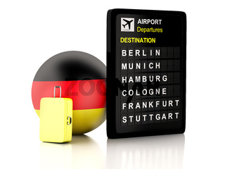 3d germany airport board and travel suitcases on white background