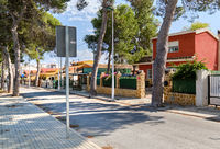 La Marina empty street and road, coastal village, Elche, province of Alicante in Spain, Costa Blanca