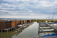 boat houses on lake Neusiedlersee in Burgenland