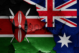 flags of Kenya and Australia painted on cracked wall