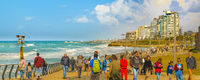 Crowd Walking at Promenade, Tel Aviv, Israel