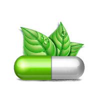 Green natural medical pill with green leaves. Pharmaceutical vector symbol with leaf for pharmastore