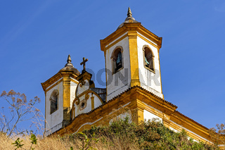 Bottom view of antique and historic church in 18th century colonial architecture