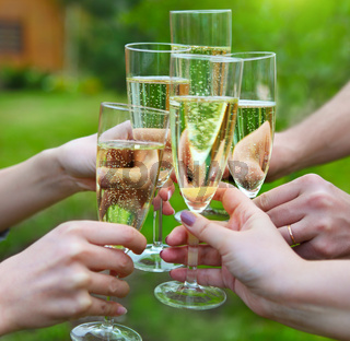 People holding glasses of champagne making a toast outdoors