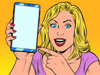 Happy woman and smartphone
