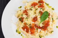 Pasta with red caviar