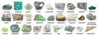 set of various green rough stones with names