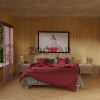 3D Render eines Schlafzimmers
