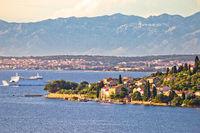 Zadar archipelago. Small island of Osljak and city of Zadar view
