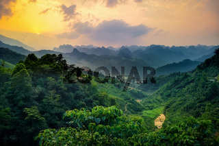 typical Vietnamese landscape in spring at Dragon-Back Panorama