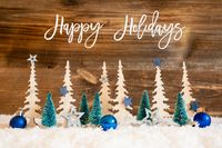 Christmas Tree, Snow, Blue Star, Ball, Happy Holidays, Wooden Background