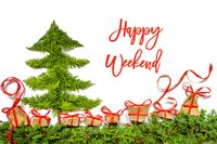 Christmas Tree, Gift And Presents, Fir Branch, Text Happy Weekend