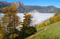 Peaceful misty autumn morning mountain view from hiking path from Dorfgastein to Paarseen lakes, Land Salzburg, Austria.