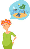 Young tired mother dreaming about vacation. Motherhood cartoon flat illustration.