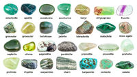 collage of various green gemstones with names