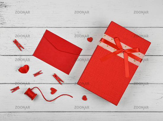 Preparing Valentine gifts on white table