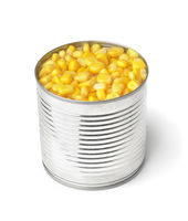 Open tin can with sweet corn