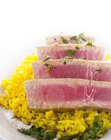 Ahi Tuna Steak With Rice and herbs sauce